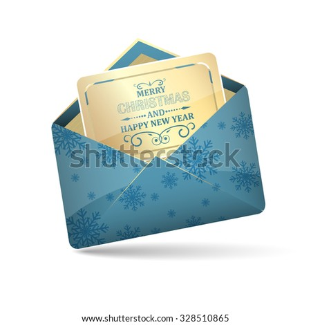 Open blue envelope with snowflakes pattern/Merry Christmas and Happy New Year decoration heading inside/vector illustration