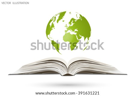 Open book and a globe, vector illustration - stock vector