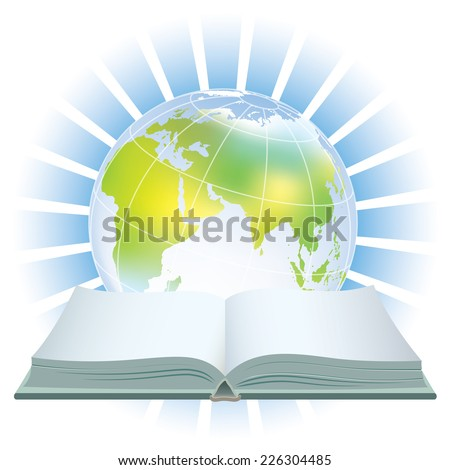 Open book and earth globe over a blue background - stock vector