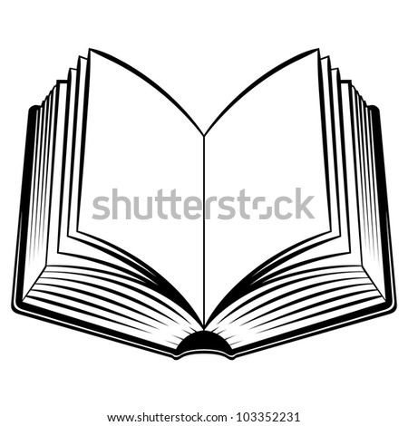 Open Book. Black and white illustration for design - stock vector