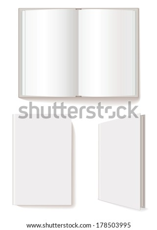Open book, closed book, blank book cover three-quarter. Vector illustration. Isolated on white background. Set - stock vector