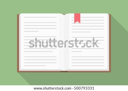 Open book, flat design with long shadow, vector eps10 illustration
