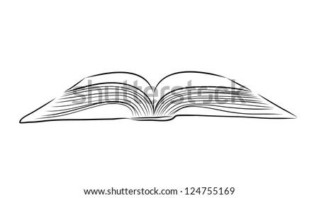open book hand draw - stock vector