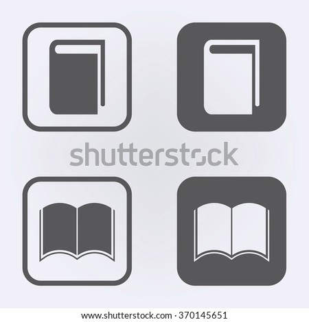 Open book icon and book icon set . Vector illustration - stock vector