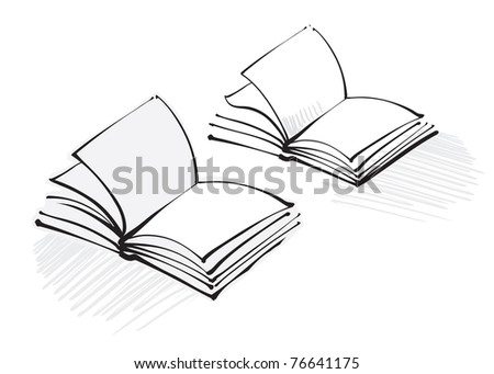 open book icon (freehand calligraphic style) - stock vector