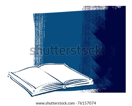Open book icon on grunge canvas background (blank space for text) - stock vector