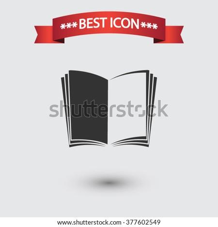 Open book icon vector - stock vector