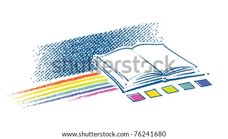 Open book icon (with a rainbow and color swatches, artistic painterly style)
