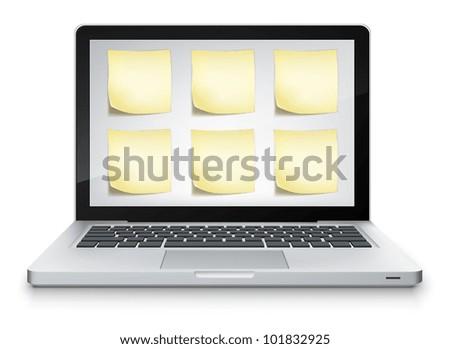 Open Book in Laptop on Grey Gradient Background. Vector EPS 10. - stock vector