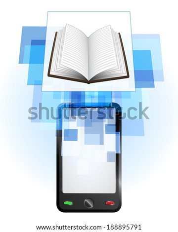 open book in mobile phone communication frame vector illustration