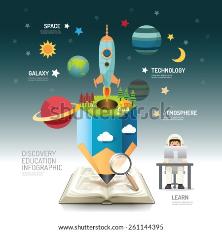 Open book infographic atmosphere pencil with rocket vector illustration. education discovery.can be used for layout, banner and web design. - stock vector