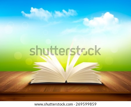 Open book on a wooden deck with green and blue backdrop. Vector.