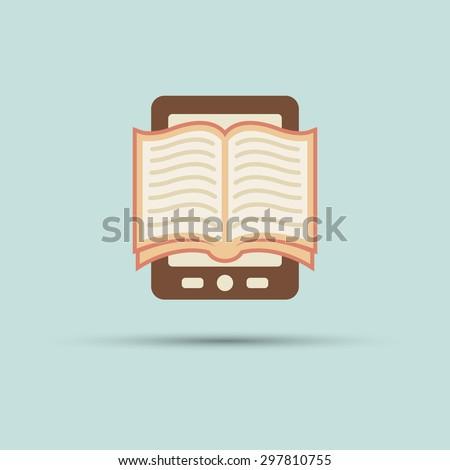 Open book on screen tablet vector flat icon, e book, book reader - stock vector