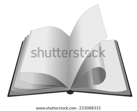 open book on white background. vector. twisted page - stock vector