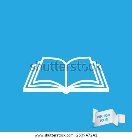 Open book vector icon on a blue background - stock vector