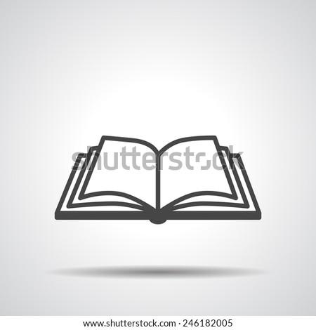 Open book vector icon on a grey background - stock vector