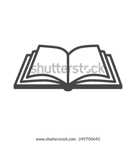Open book vector icon on a white background - stock vector