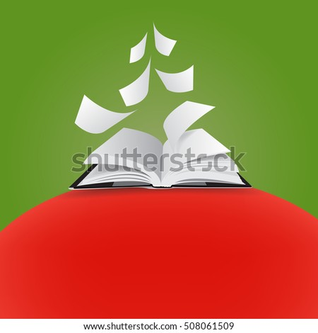 Open book - vector illustration - christmas tree - merry christmas