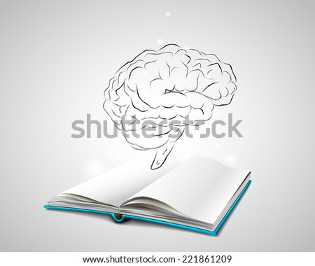 Open book with a blue cover. Isolated human brain sketch. Doodle human brain. Planning. Brainstorming. The book is about the human brain. - stock vector