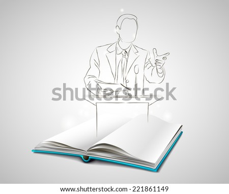 Open book with a blue cover. Speaker hand-painted. Book of oratory. Doodle. Sketch of man speaking at the podium.