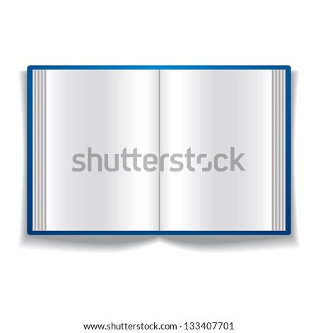Open book with blank pages vector icon isolated on white background.