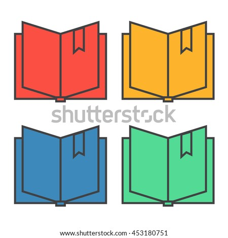 Open book with bookmark icon eps 10 - stock vector