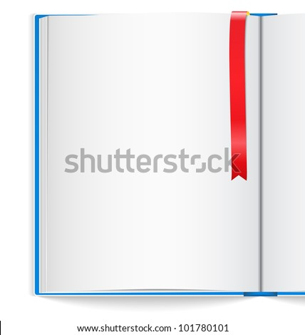 Open book with bookmark, vector eps10 illustration - stock vector