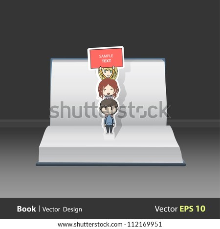 Open book with children over children holding a poster. Vector design. Pop-Up Illustration. - stock vector