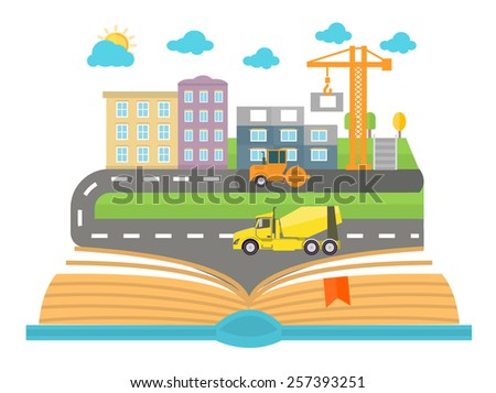 Open book with city on a white background. Concept in flat design. Car goes on the road in the city - stock vector