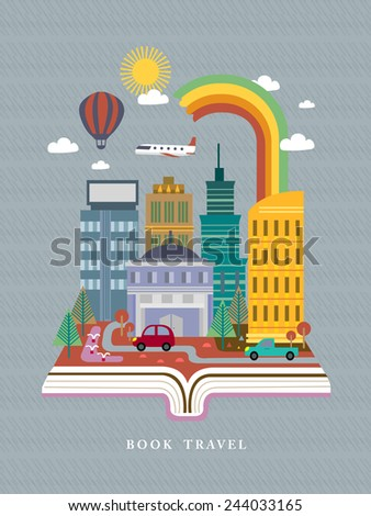 open book with city street scene in flat design style - stock vector