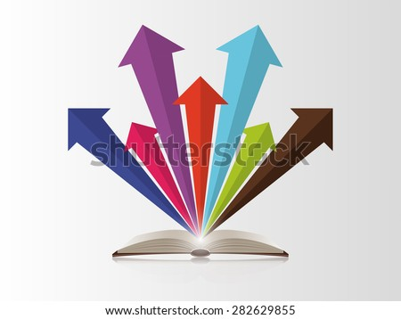 Open book with colorful arrows. Vector - stock vector