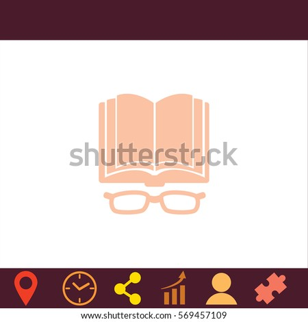 Open book with glasses  icon. Vector design.
