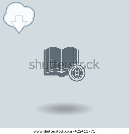 Open book with globe icon with shadow. Cloud of download with arrow.