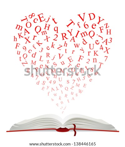 Open book with heart of letters for education design. Jpeg (bitmap) version also available in gallery - stock vector