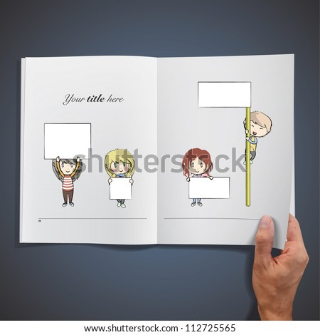 Open book with kids holding placard to insert text. Vector illustration. - stock vector