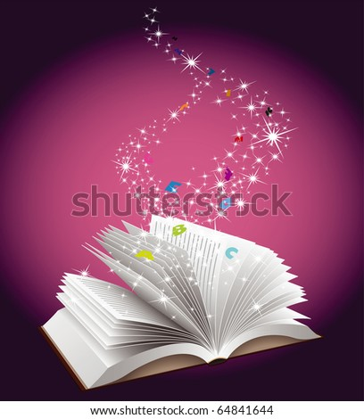 Open book with magic fairy dust falling