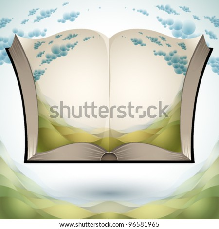 Open book with nature landscape illustration and copy space for your text, vector illustration. - stock vector
