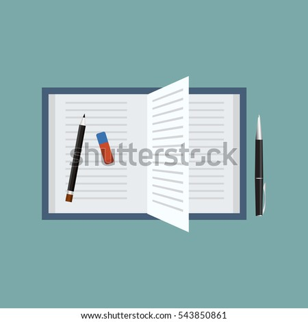 Open book with pen,pencil and an eraser. Top view vector illustration.