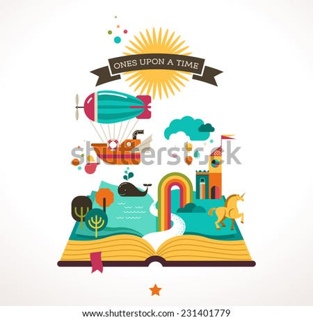 Open Book with set of vector fairy tale elements, icons and illustrations, book event, festival poster, cover template design  - stock vector