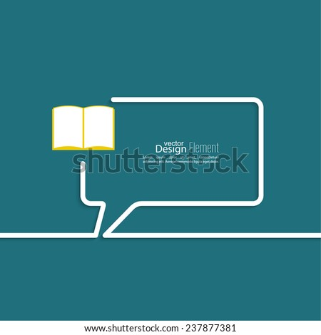 Open book with space for saying, quotes, excerpts. Chat symbol. Outline.  - stock vector