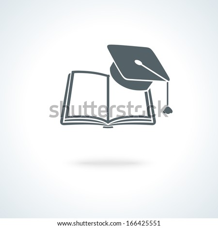 Open book with square academic cap icon vector illustration - stock vector