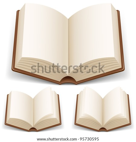 Open book with white pages. Illustration on white background - stock vector