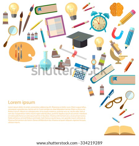 Open books and icons of education concept back to school power of knowledge effective education vector illustration - stock vector