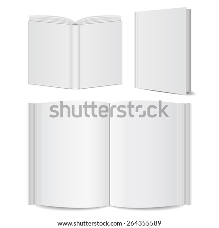 open books blank set mock-ups. vector illustrations  - stock vector