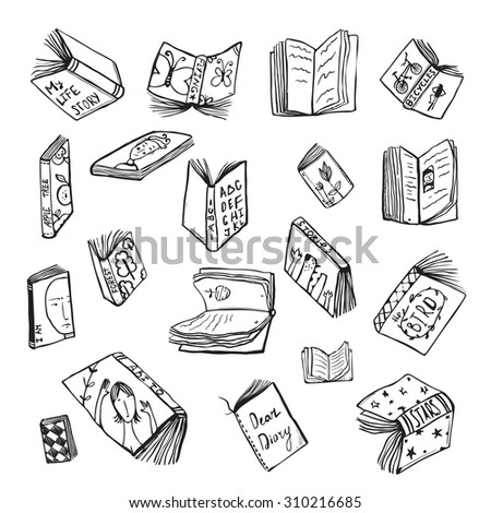 Open Books Drawing Reading Collection in Black Lines. Big set of hand drawn black and white outline literature covers illustration.  - stock vector
