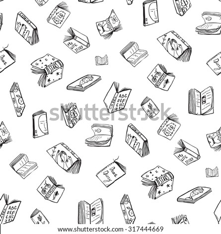 Open Books Drawing Seamless Pattern Background. Hand drawn black and white sketch literature covers illustration.  - stock vector