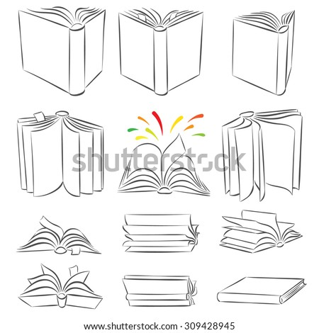 Open books in different positions. Calligraphic ink style. Smartly grouped, isolated on white.