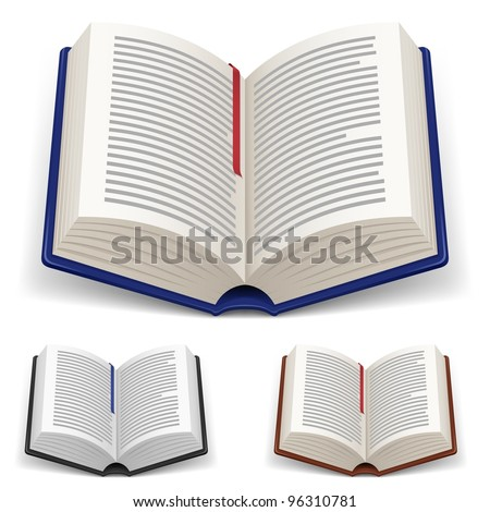 Open Books With Red and Blue Bookmark on White Background - stock vector