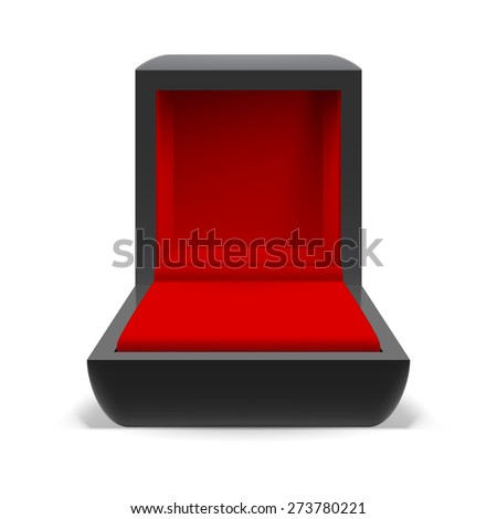 Open box for jewelry with a red interior on a white background - stock vector