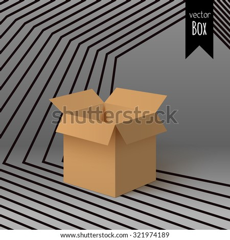 Open box for your design isolated on the colorful striped background with gradient. - stock vector